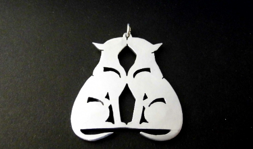 English bull terrier double pendant sterling silver Handmade Design by Marianne Felix